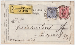 """1893, Seltener Reko-"""" Graz-Jacomini-Vorstadt """" , #7505"""