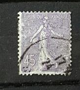 YT197 - 45c Type Semeuse Lignée - Oblitéré - Lilas