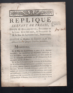 (factum) Réplique Pour Me Delaguette Et Duc De Luxembourg Contre Créanciers De Feu Duc D'Olonne (FCT028) - Documents Historiques