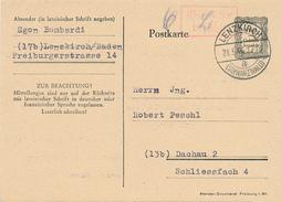 LENZKIRCH - 21.5.1946 , Ganzsache Nach Dachau