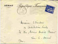 Lettre Avec 90c Paix Perforé S - 1921-1960: Modern Period