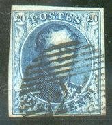 N°4 - Médaillon 20 Centimes Bleu, TB Margée, Obl; P.24 BRUXELLES *.  - 11706 - 1849-1850 Médaillons (3/5)