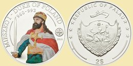PALAU 2010 2 $ Dollars Mieszko I Duke Of Poland Ag CoA UNC - Palau