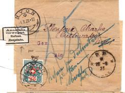 Bande Pour Journaux Entière De P.P. Lille (28.09.1923) Taxée à Nyon_ Refusé_Respinto Via Gex - Marcophilie