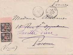 1887 Constantinople-Stambul à Poitiers Affr Sage Surchargé 1 Piastre X 2 TB. - Covers & Documents