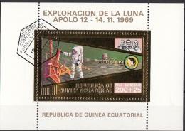 Bf. 60 Guinea Equatoriale 1973 Apollo 12 Gold Art Sheet Astronauti Conrad Gordon Bean Perf. - FDC & Commemoratives