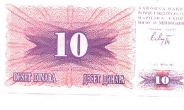 Billete Bosnia-Herzegovina. 10 Dinares 1992. (ref. 6-585) - Bosnia Y Herzegovina