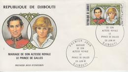 Enveloppe  FDC  1er  Jour    REPUBLIQUE   De   DJIBOUTI    Mariage   PRINCE  CHARLES   -   LADY   DIANA    1981 - Djibouti (1977-...)