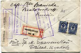RUSSIE LETTRE RECOMMANDEE CENSUREE DEPART BELAIA TZERKOW 25-12-15 POUR LA FRANCE - 1857-1916 Empire