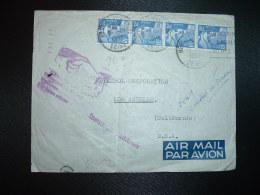 LETTRE Par AVION Pour USA TP MARIANNE DE GANDON 12F X4 OBL.16-10-1950 NEUILLY SUR SEINE (92) + RETOUR MAIN à BRACKMAN