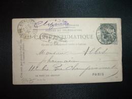 CARTE PNEUMATIQUE CHAPLAIN 30 OBL PARIS 20 + 24 JUIL 99 PARIS 20 + GRIFFE Trouvé à La Boite P. 20