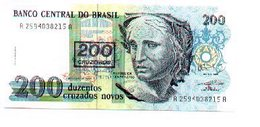 Billete Brasil. 200 Cruzados Novos, Retimbre 200 Cruzeiros. (ref. 6-728) - Brasil