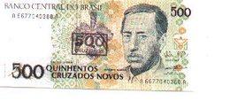 Billete Brasil. 500 Cruzados Novos, Retimbre 500 Cruzeiros. (ref. 6-729) - Brasil