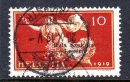 BELA SZEKULA LUZERN, 1919  Used Stamps  10 Cent (ch299)