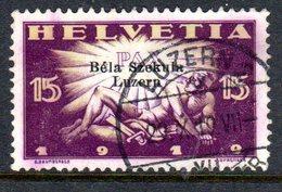 BELA SZEKULA LUZERN, 1919  Used Stamps  20 Cent (ch301)