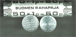 Finland  Roll  50 Pcs Wholesale Dealer Lot  1 Penni 1978 Aluminium UNC - Finlande