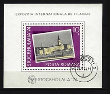 RUMÄNIEN - Block Nr. 116 Internationale Briefmarkenausstellung STOCKHOLMIA '74 Gestempelt