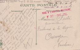 SEINE INFERIEURE  - VISE A L'HOPITAL MILITAIRE N°37 - DIEPPE  - LE 8-10-1915 - GUERRE 14-18. - Marcophilie (Lettres)