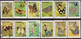 NAMIBIA 1993-94 SG 623//34+648 Part Set Used 12 Stamps Of 14 Butterflies - Namibia (1990- ...)
