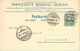"Motiv Karte  ""Mangili, Internat. Speditionsgeschäft, Zürich""         1903"