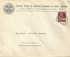 """Motiv Brief  """"Camara Oficial De Comercio Espagnola En Suiza, Ginebra""""                 1924"""