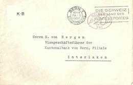 """Motiv Brief  """"Berner Kantonalbank, Bern"""" - Interlaken  (Freistempel)            1937"""