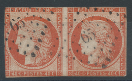 Lot N°35034   Paire Du N°5a Orange Vif, Oblit PC 65 AMIENS (76), Sans Pli Ni Clair, Coté 1200 Euros