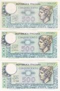 LOTE DE 3 BILLETES DE ITALIA DE 500 LIRAS DE LOS AÑOS 1974-1976 Y 1979  (BANKNOTE) MEDUSA - 500 Lire
