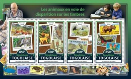 Togo 2016, Stamp On Stamp, WWF, Birds, Butterfly, Parrot, Rhino, 4val In BF