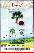 Q414.-. BRASIL .-. 2013 - MINISHEET .-. BURITI - FRUITS,TREE,MACAWS, GROVE. - Brazil
