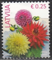 Latvija 2015 Fleur 0.25 Euro O Cachet Rond - Lettonie