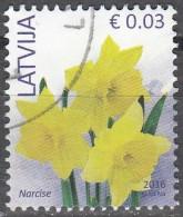 Latvija 2016 Fleur 0.03 Euro O Cachet Rond - Lettonie