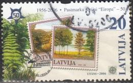 Latvija 2006 Michel 655 O Cote (2013) 0.80 Euro 50 Ans Europa CEPT Timbres Sur Timbres Cachet Rond - Lettonie