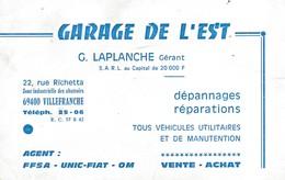 Carte Commerciale Garage De L'Est / G. LAPLANCHE / FFSA  UNIC FIAT OM / 69 Villefranche Rhône - Autres