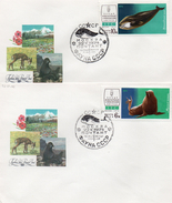 Russie 1974 4 Fdc Série Faune D'U.R.S.S Baleine Phoque Antilope Rat Des Champs  (00565-66)