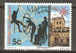 MALTE    -   1996 .   Y&T N° 950 Oblitéré.   Alpinisme / Gym Cerceau /  Handicap