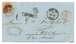 Belgique COB12 40c Obl Ambulant Sur Pli D'Anvers à Paris 16 Nov 1862