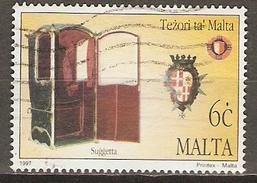 MALTE    -   1997 .   Y&T N° 984 Oblitéré.   Chaise à Porteur