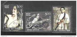INDIA, 2010, FIRST DAY CANCELLED, Musicians, Instruments, Famous People, Set 3 V,  Dhannamal, Rajarathinam, Pillai