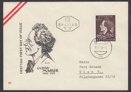 """Austria 1960, FDC Cover """"Gustav Mahler"""" W./postmark """"Wien"""", Ref.bbzg"""