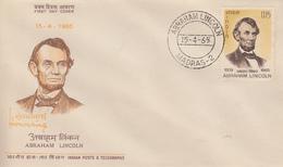 Enveloppe  FDC   1er  Jour  INDE   ABRAHAM  LINCOLN   1965 - FDC