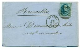 Belgique COB11 20c Sur Pli D'Anvers à Bruxelles 1863