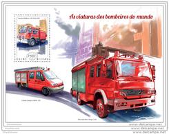 GUINEA BISSAU 2014 ** S/S Fire Engines Feuerwehr Fahrzeuge Voitures Des Pompiers Viaturas Dos Bombeiros A1448