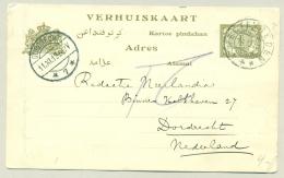 Nederlands Indië - 1912 - Verhuiskaart G1a, Echt Gebruikt Van Weltevreden Naar Dordrecht / Nederland - Nederlands-Indië