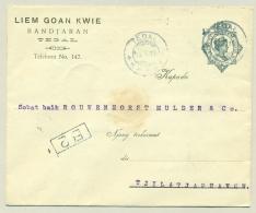 Nederlands Indië - 1919 - Particulier Bedrukte Envelop G39 Van KB Tegal Naar LB Tjilatjap - Zie Achterzijde /see Back !!