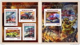 NIGER 2016 ** Fire Trucks Feuerwehr Fahrzeuge Camions De Pompiers M/S+S/S - IMPERFORATED - A1644