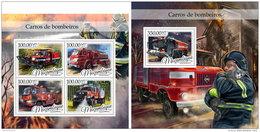 MOZAMBIQUE 2016 ** Fire Trucks Feuerwehr LKW Camions De Pompiers M/S+S/S - IMPERFORATED - A1702