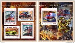 NIGER 2016 ** Fire Trucks Feuerwehr Fahrzeuge Camions De Pompiers M/S+S/S - OFFICIAL ISSUE - A1644