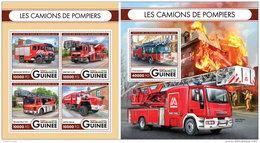 GUINEA REP. 2016 ** Fire Engines Feuerwehr Fahrzeuge Camions De Pompiers M/S+S/S - OFFICIAL ISSUE - A1644