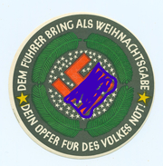 WHW / Winterhilfswerk -Türplakette ,1934,> # *Dem Führer Bring Als Weihnachtsgabe* #, (Dm.:10cm).Rückseite : Nasskleber - Dokumente